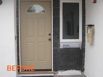 Before - Front Door Stucco Repair Jacksonville FL